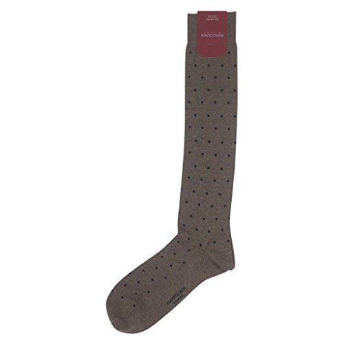 Marcoliani Milano Mens Over The Calf Polka Dot Pima Cotton Dress Socks, (Pima Cotton Dress Socks)