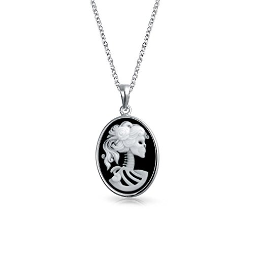 Classic Black White Oval Shape Female Lolita Skelton Cameo Pendant Bezel Set 925 Sterling Silver 18 inch