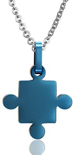 MoAndy Stainless Steel Men Necklace Chain Love Autism Awareness Puzzle Pendants Blue from MoAndy
