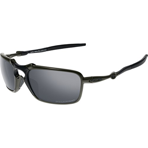 Oakley Men's Badman OO6020-01 Polarized Iridium Rectangular Sunglasses, Dark Carbon, 60 - Oakley Crosshair
