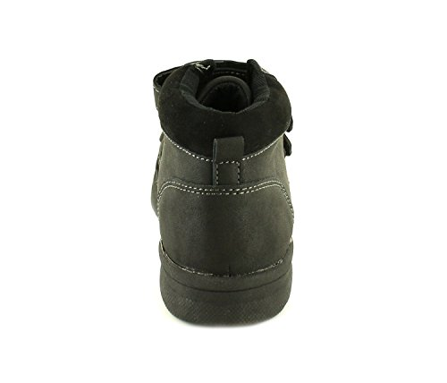 Neu Jungen/Kinder Schwarz Synthetik Leder Obermaterial Klettverschluss Schuhe - Schwarz - UK GRÖßEN 10-2