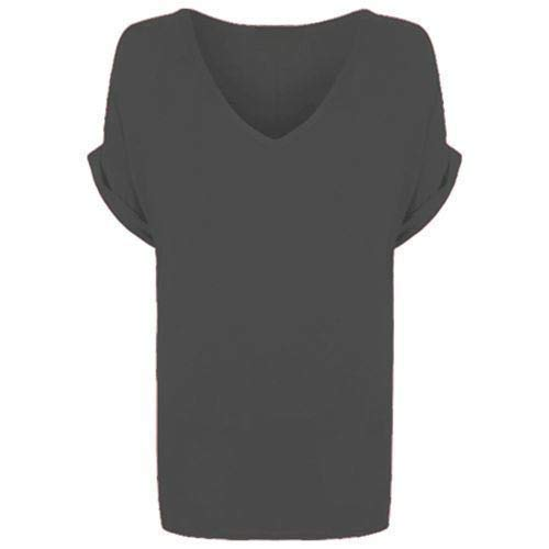 50ac6da913a New Ladies Women V Neck Turn Up Short Sleeve Baggy T-Shirt Top   Amazon.co.uk  Clothing