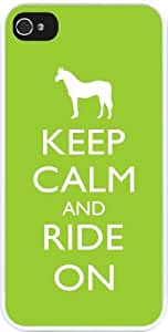 Rikki KnightTM Keep Calm and Ride On - Lime Green Color Design iPhone 4 & 4s Case Cover (White Rubber with bumper protection) for Apple iPhone 4 & 4s