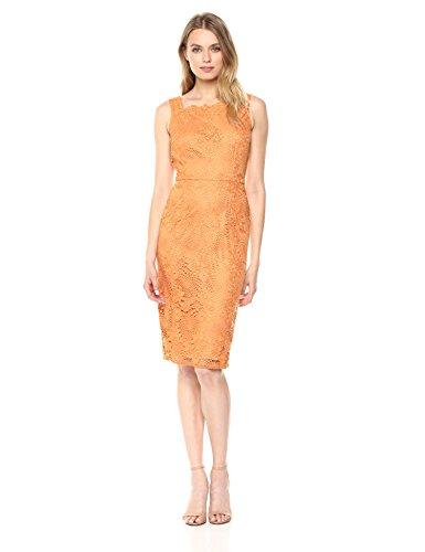 Women Sheath Lace Papell Adrianna Orange Hibiscus Crotchet s Dress aCq5xPwT