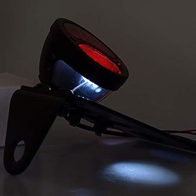 Amazicha Motorcycle Side Mount License Plate Bracket LED Brake Tail Light Compatible for Harley Davidson Sporster Bobber Chopper Cafe: Automotive