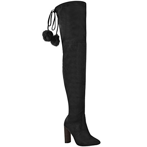 Fashion Thirsty Womens Thigh High Stretch Lycra Boots Over The Knee High Heels Size Black Faux Suede