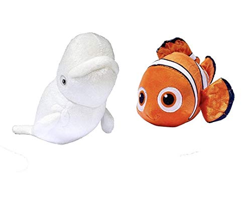 Bandai Finding Disney Pixar Baby Dory 6'' Mini Plush Bailey Nemo Bundle (Set of 2) by Disney-Bandi