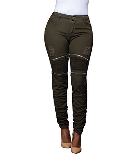 Décontra Pantalon Mesdames Crayon Mode Stretch Hx Fashion Haute Basic Grün Taille Slim thrsQd
