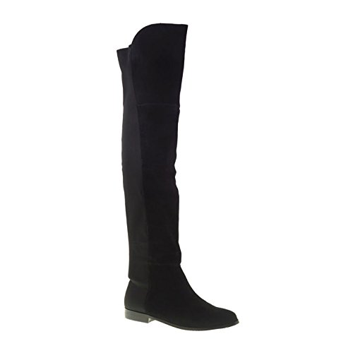 Chinese Laundry Women's Riley Split Suede Riding Boot, Black, 6 M (Flat Over The Knee Boots)