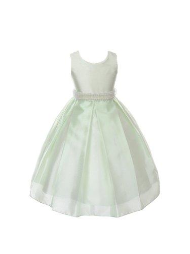 Pastel Color Shantung Silk Girls Dress-Mint-4 ()