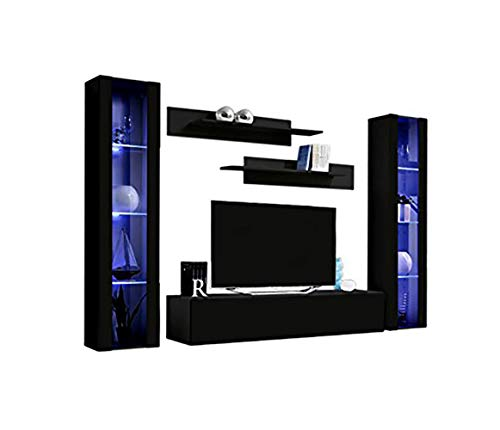 MEBLE FURNITURE RUGS Wall Mounted Floating Modern Entertainment Center Fly A Black, B2