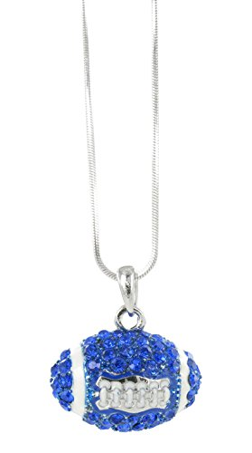 (Dome Football Rhinestone Pendant Necklace - Royal Blue Crystal and White Enamel)