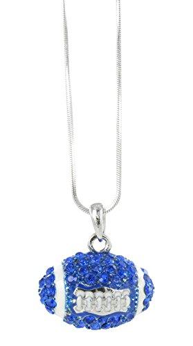Dome Football Rhinestone Pendant Necklace - Royal Blue Crystal and White Enamel