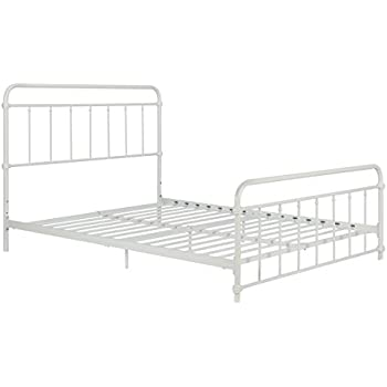 wallace metal bed frame in white with vintage headboard and footboard no box spring required sturdy metal frame with slats weight limit 450 lbs full