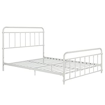 Wallace Metal Bed Frame in White with Vintage Headboard and Footboard, No Box Spring Required, Sturdy Metal Frame with Slats, Weight Limit 500 lbs Queen Size