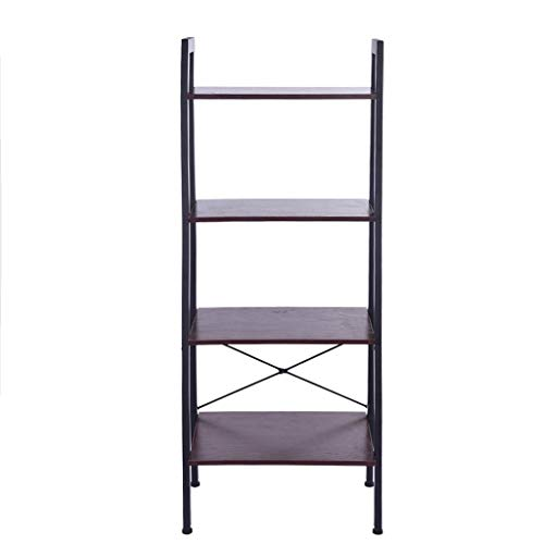 (IslandseVintage Ladder 4-Tier Bookshelf Storage Rack Shelf Unit Wood Metal Frame (Black Walnut))