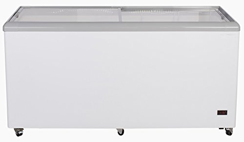 Chef's Exclusive CE205 Commercial Frost Free Sub Zero Mobile Ice Cream Display Chest Freezer 14 Cubic Feet Flat Glass Lid Top with Wire Baskets, 52 Inch Wide, White