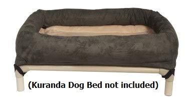 Reversible Bolster Beds - Kuranda Bolster and Reversible Fleece Pad - 44x27 - Smoke/Cream