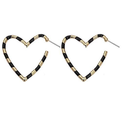 Heart Hoop Earring (Gold/Black Stripe)