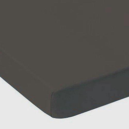 Drap Housse Jersey Coton 180 x 200 cm GRIS ANTHRACITE Bonnet de 25 cm