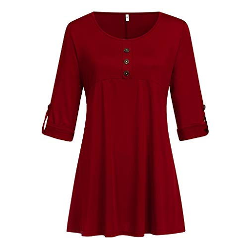 VLDO Women Casual Basic Loose Button O Neck Half Sleeve Plus Size Blouse Tops Shirt Red -