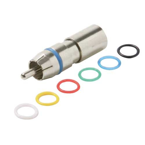 Compression Connector Coaxial Audio Video Permaseal II RG59 Six Color Rings Precision Nickel Plated A/V RG-59 Connectors RCA Perma Seal with 6 Color Bands, 25 Pack