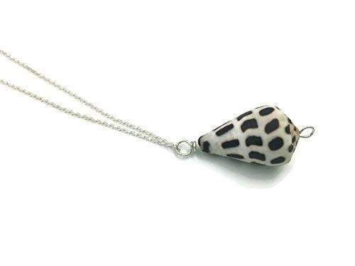 Boho Black and White Cone Seashell Sterling Silver Necklace, 20 inches ()
