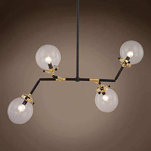 """Globe Modern Clear Glass 4 Light 21"""" Burnished Brass Chandelier, Hanging Ceiling Light (Led Bulbs Included)"""