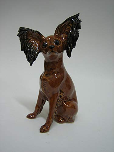 - Toy Terrier brown faience figurine, handmade, porcelain dog figurine
