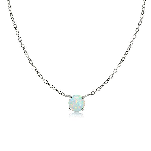 Ice Gems Sterling Silver Small Dainty Round Simulated White Opal Choker Necklace ()