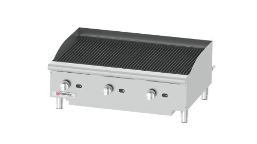 Grindmaster-Cecilware CCP36 Heavy Duty Stainless Steel Countertop Gas Char Broiler with 3
