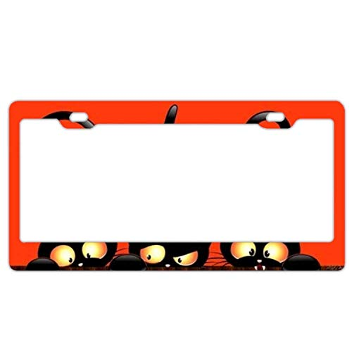 YEX Abstract Cute Halloween Cats License Plate Frame Novelty Car Tag Frame Auto Metal License Plate Holder 12