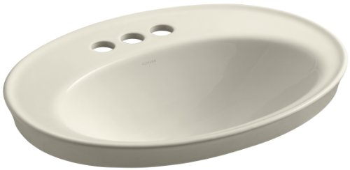 KOHLER K-2075-4-47 Serif Self-Rimming Bathroom Sink, Almond