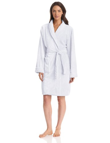 Seven Apparel Hotel Spa Collection Popcorn Jacquard Bath Robe, One Size, White - Popcorn Collection