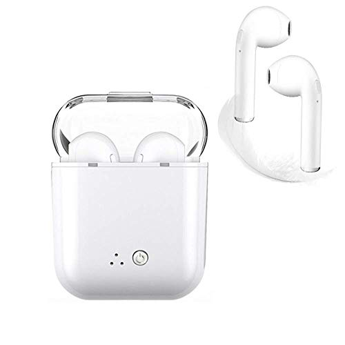 Bluetooth Earbuds, Bluetooth Headphones Wireless Sport Earbuds Mini in-Ear Earphones Stereo Noise Canceling with Charging Case for Workout, Running, Gym (White-)