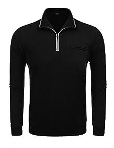 COOFANDY Men's Relaxed Fit Mock Neck Polo Quarter Zip Pullover Collar Sweatshirt