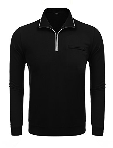 COOFANDY Mens Relaxed Fit Mock Neck Polo Quarter Zip Pullover Collar Sweatshirt