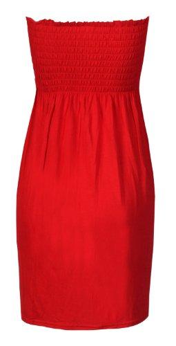 Damas Llanura Vestido Palabra de honor Elástico Sheering Mejores Rot - Rot
