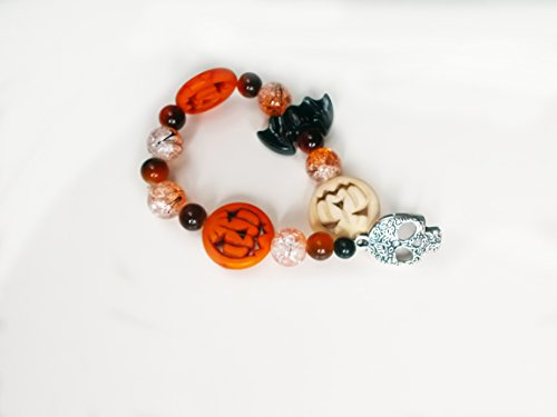 Lantern Crackle (Orange Charm Bracelet - Bat Charm - Jack-O-Lantern Beads - Skull Pendant - Crackle Glass Beads - Halloween Jewelry - Beaded Bracelet - Boho)