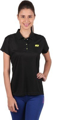 481bbe4b90fd55 Buy Vector X Solid Women s Polo Neck Black T-Shirt Online at Low ...