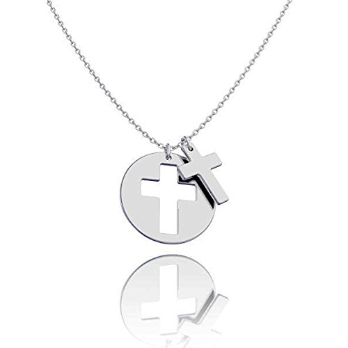 Ouslier 925 Sterling Silver Cut out Disc Cross Necklace Pendant 16