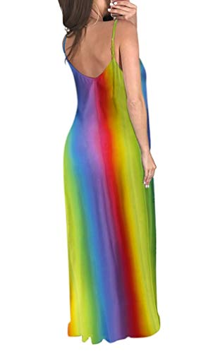 Long Plus Neck V Voghtic Maxi Loose with Sleeveless Blue Pocket Spaghetti Size Dress XXL Rainbow S Dress Women for Strap FzFq1pn