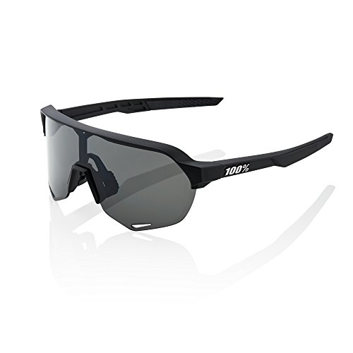 100% S2 Mens Performance Sunglasses Soft Tact Black Smoke Lens includes Clear Replacement Lens -