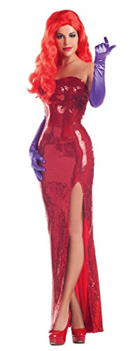Roger Rabbit Halloween Costumes (Party King Women's Toon Starlet Sexy Costume Dress Set, Red,)