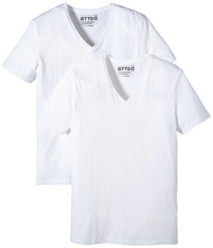 TOM TAILOR DENIM Herren T-Shirt basic v - neck doublepack, Gr. Large, Weiß (white 2000)