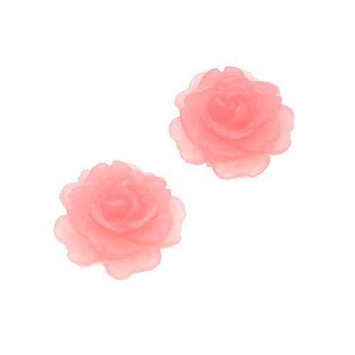 Vintage Look Lucite Cabochon Bead Pink Flower Rose 15mm (2) ()