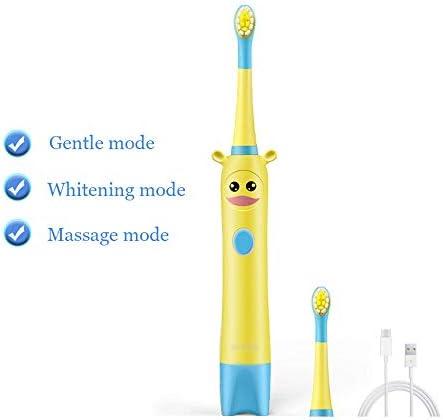 キッズソニックウェーブクリーニング2ブラシヘッドのための子供の年齢3+健康柔らかい歯ブラシ3モード用電動歯ブラシ,A
