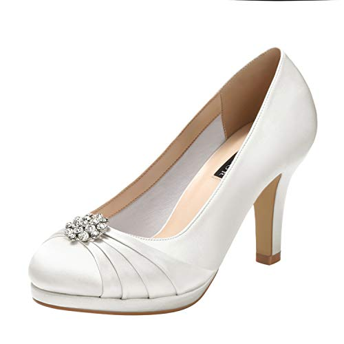 ERIJUNOR E0101 Women Comfort Mid Heel Pumps Closed-Toe Satin Wedding Evening Party Dress Shoes Ivory Size8