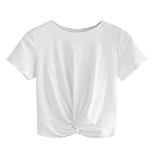 - iTLOTL Women Casual Solid O Neck Short Sleeve Twist Front Crop Tee Blouse Tops