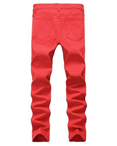 Knee Skinny Uomo The In Stretch Aderenti Slim Cher Huixin Vintage Elasticizzati Pantaloni Rot Destroy Casual Jeans Holes Strappati Denim Da Pants E11w8qv